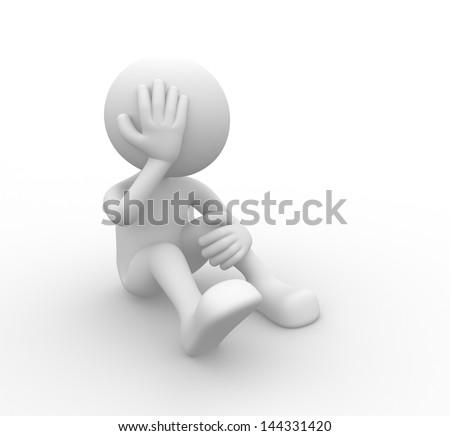 3d people - man, person - sad. - stock photo