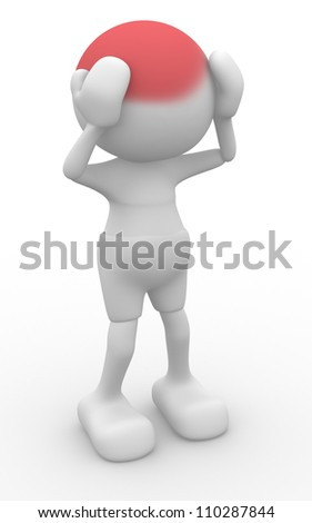3d people - man, person -  sadness. Head pain - stock photo