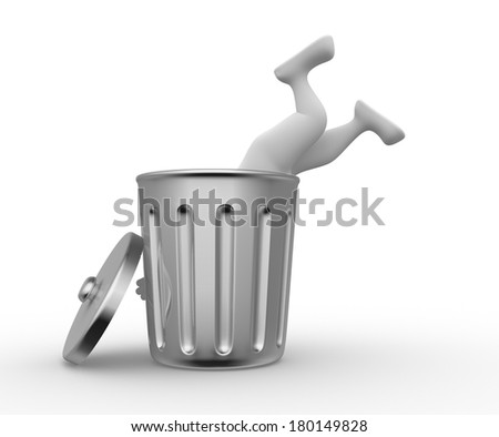 3d people - man, person  searching in garbage container. Poverty - stock photo