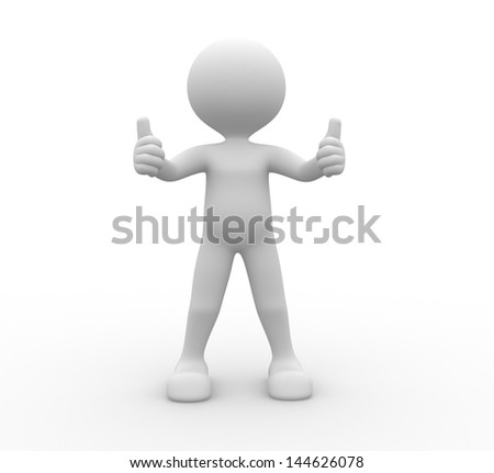 """3d people - man, person showing """"OK"""" sign. - stock photo"""
