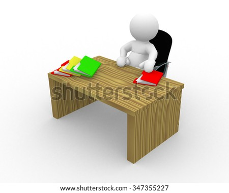 3d people - man, person sitting at desk with folders