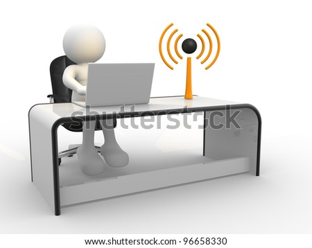"3d people - man , person sitting at the table and working, with laptop and a ""Wireless"" sign"