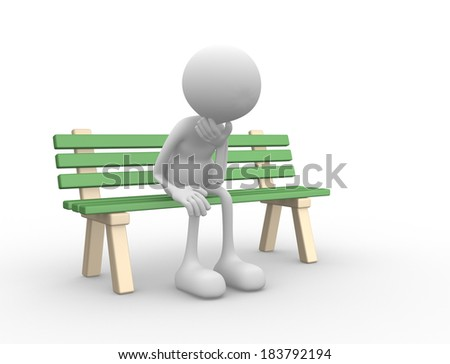 3d people - man, person sitting  on the bench upset - stock photo