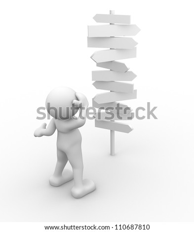 3d  people - man, person standing in front of a road signs - stock photo