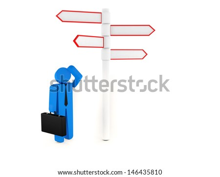 3d people - man, person standing in front of a road signs. 3d image. Isolated white background.