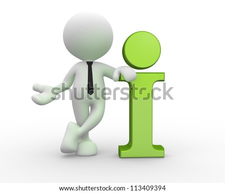 3d people - man, person standing near to an information icon. - stock photo