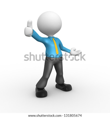 3d people - man, person standing near to an ok icon - stock photo