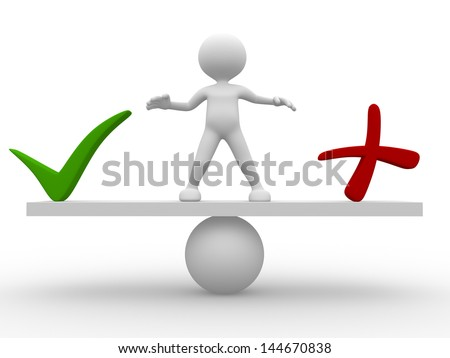 3d people - man,  person standing on a seesaw between a check mark and a cross. Yes or no - stock photo