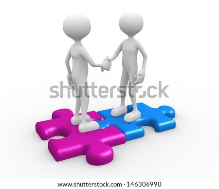 3d people - man, person standing on the puzzle and make a handshake