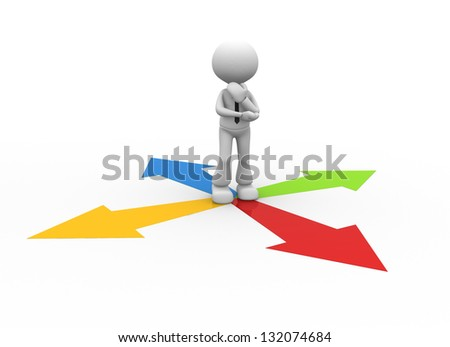 3d people - man, person surrounded by directional signs . Confusion - stock photo