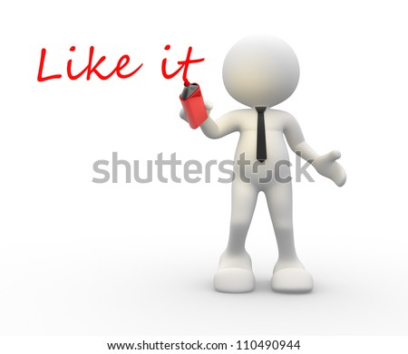 "3d people - man, person to marker  word ""like it"" - stock photo"