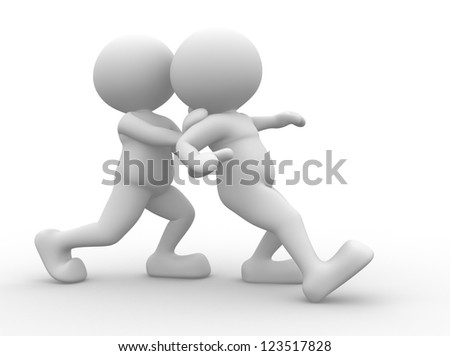 3d people - man, person try to help another person - stock photo
