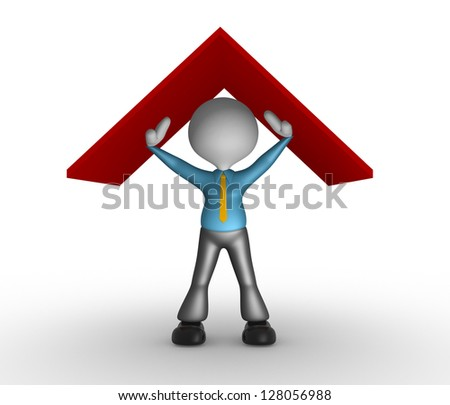 3d people - man, person under a roof. Businessman - stock photo