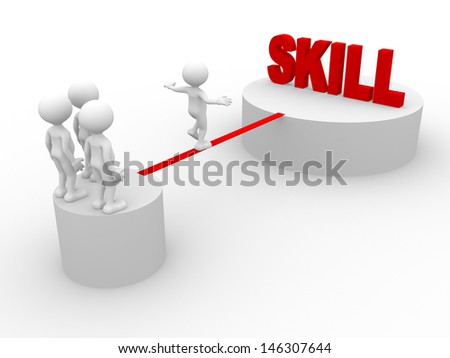 3d people - man, person walking on the wire. Skill - stock photo