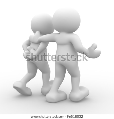 3d people - man, person walking with to hands behind and a friend - stock photo