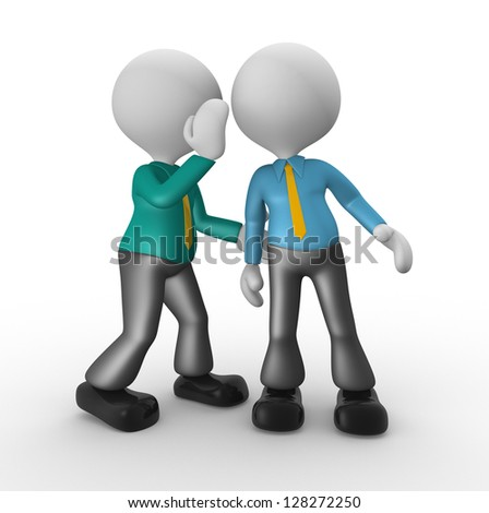 3d people - man, person whispering in his ear to another person. - stock photo