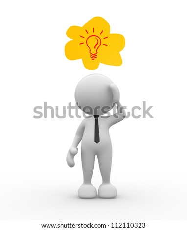 3d people - man, person who dreams. Light bulb