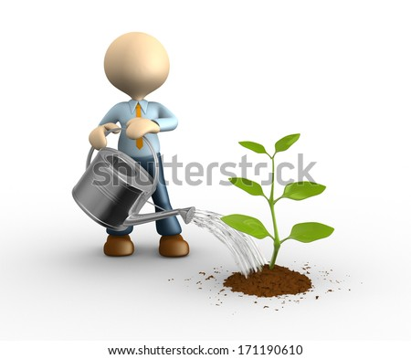 3d people - man, person who waters sprout. Gardener - stock photo
