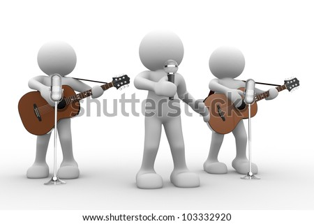 3d people - man, person with a acoustic guitar. Guitarist on stage at a microphone. Band - stock photo