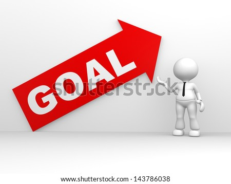 """3d people - man, person with a arrow and text """" goal """". Up - stock photo"""