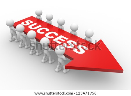 "3d people - man, person with a arrow and text "" success "". - stock photo"