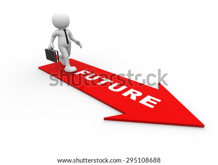 3d people - man, person with a arrow and word FUTURE - stock photo