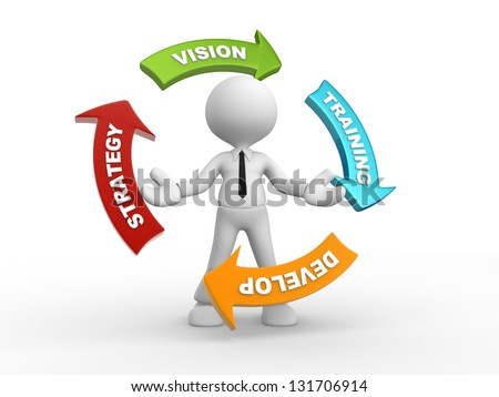 3d people - man, person with a arrow. Strategy, develop, vision, training - stock photo