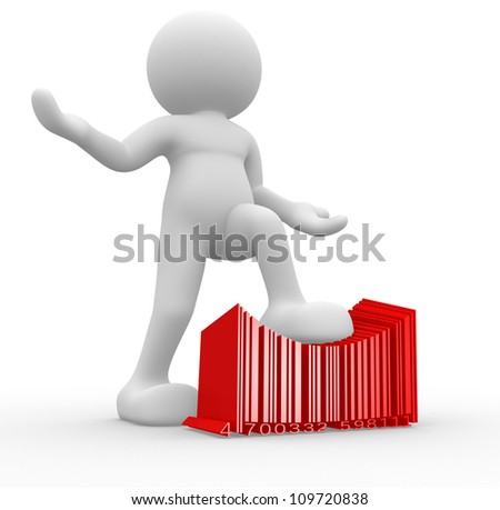 3d people - man , person with a bar code ( barcode ) - stock photo