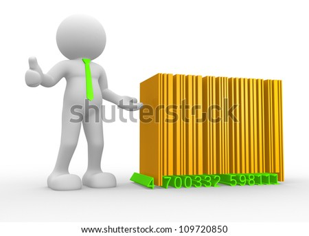 3d people - man , person with a bar-code ( barcode ) - stock photo