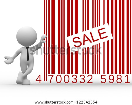 3d people - man, person with a bar code ( barcode ). Sale - stock photo
