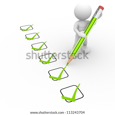 3d people - man, person with a big pencil and a checklist - stock photo