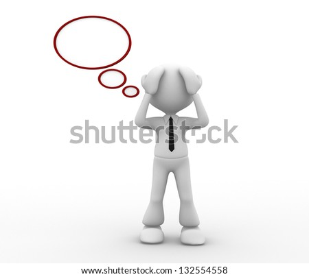 3d people - man, person with a blank bubbles - pain, worried. Sad. Stress concept , depressed. - stock photo