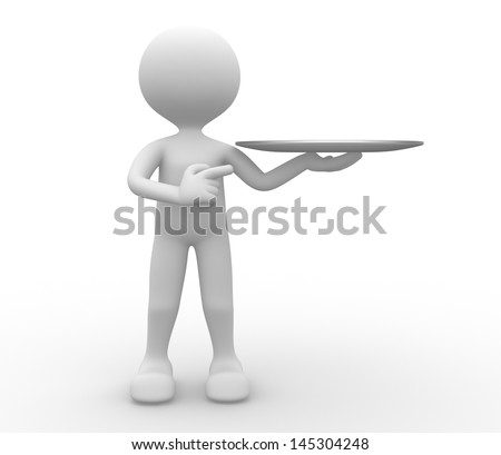 3d people - man, person with a blank tray. Plate - stock photo