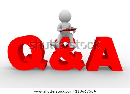 3d people - man, person with a book. Question and answer - stock photo
