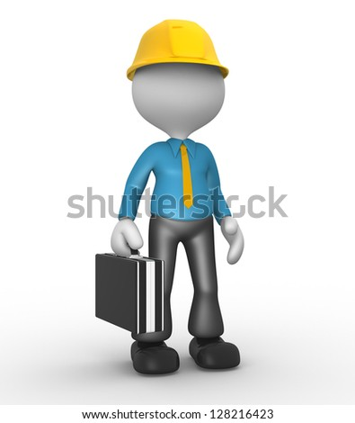 3d people - man , person with a briefcase. Businessman