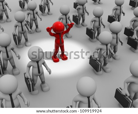 3d people - man, person with a briefcase in hand in the spotlight. Businessman different