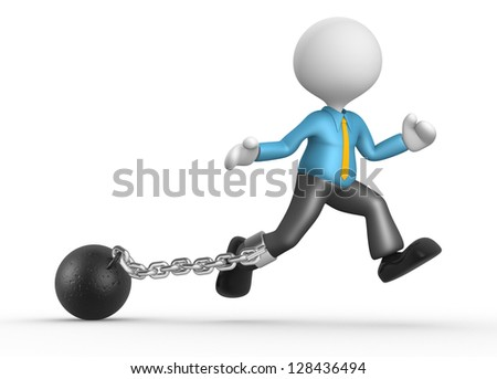3d people - man, person with a chain ball. Prisoner. - stock photo