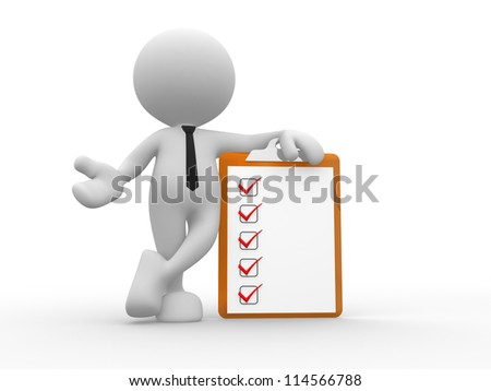 3d people - man, person with a clipboard. Businessman. - stock photo