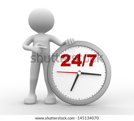 """3d people - man, person with a clock  and text """" 24/7 """" - stock photo"""
