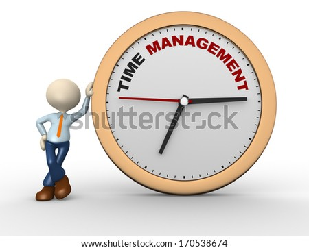"""3d people - man, person with a clock and text """" time time to management"""" - stock photo"""