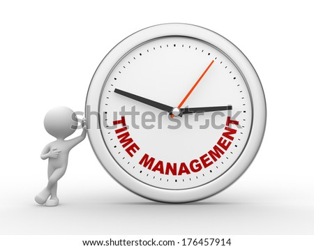 "3d people - man, person with a clock and text ""time to management"""