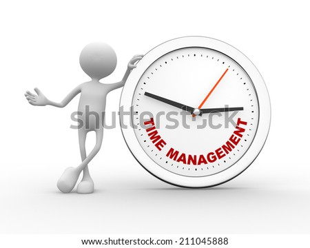 "3d people - man, person with a clock and text ""time to management""  - stock photo"