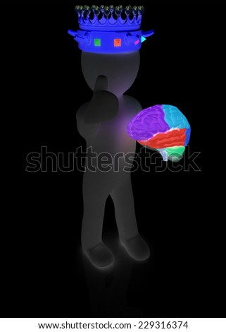3d people - man, person with a crown. King with brain - stock photo