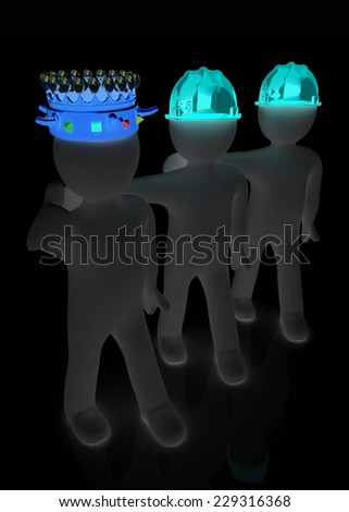 3d people - man, person with a crown. King with person with a hard hat - stock photo