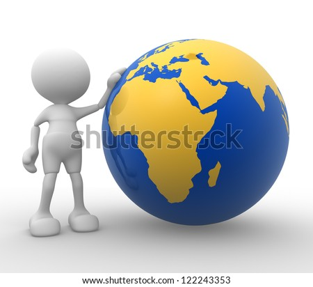 3d people - man, person with a Earth globe