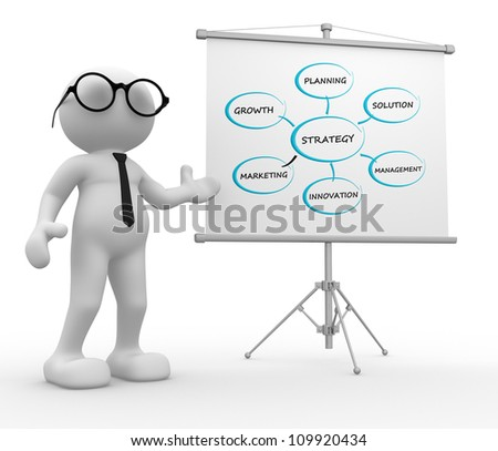 3d people - man, person with a flip-chart. Conceptual image of strategy. - stock photo