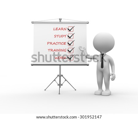3d people - man, person with a flip chart. Learn, study, practice, training, work