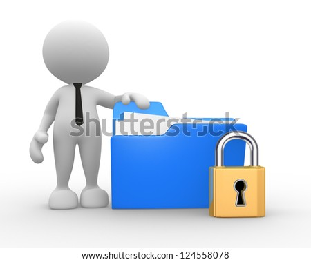3d people - man, person with a folder and a lock. - stock photo