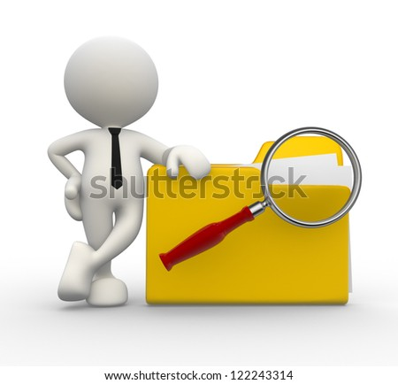 3d people - man, person with a folder and a magnifying glass. Search concept