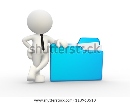 3d people - man, person with a folder. Businessman